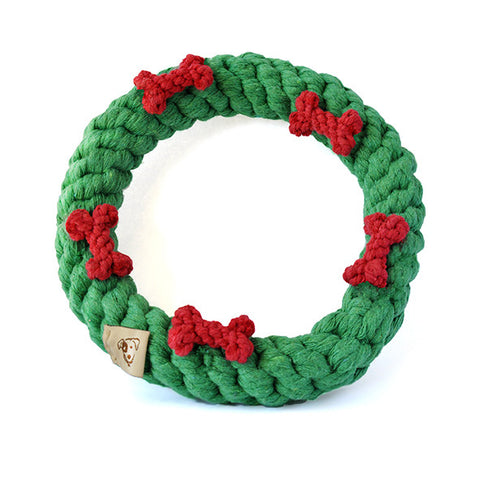 Dog Rope Toys - Green Ring with Red Bones