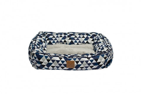 Mog & Bone  Bolster Bed - Blue Diamond Print