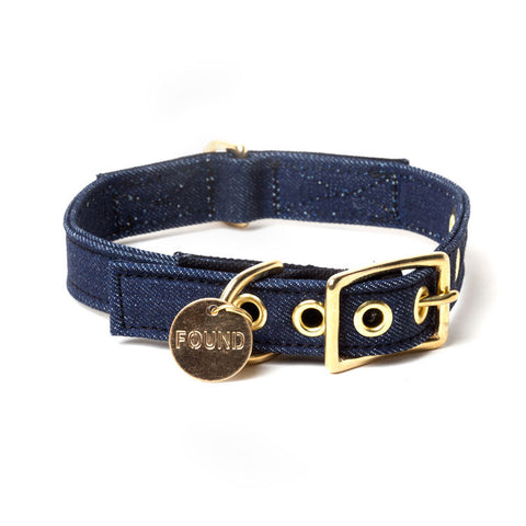 Found My Animal - Dog Collar - Denim Canvas