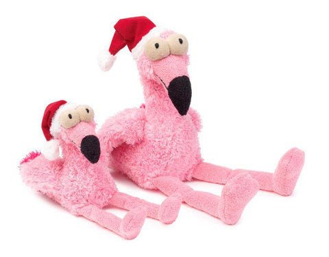 Plush Dog Squeak Toys - Flo the Christmas Flamingo