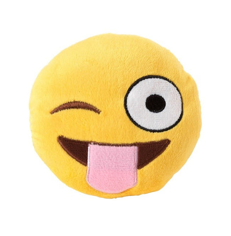 Plush Dog Squeak Toys - Emoji Tongue Out