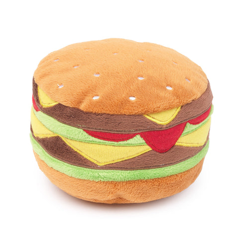 Plush Dog Squeak Toys - Hamburger