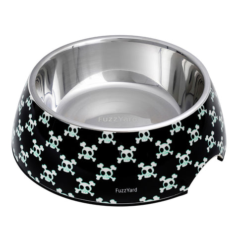 FuzzYard Bad to the Bone Easy Feeder Pet Bowl ~Black
