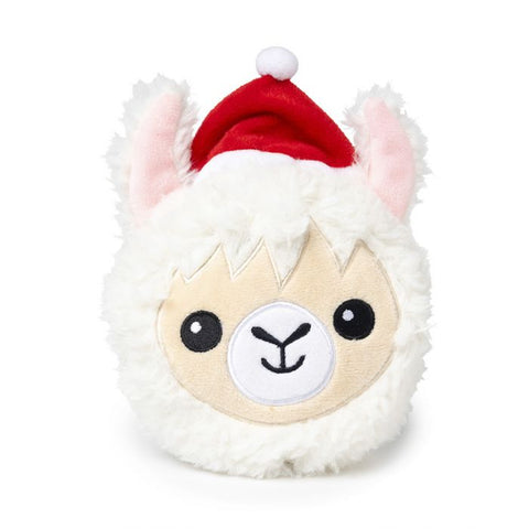 Plush Dog Squeak Toy - Christmas Llama Ball