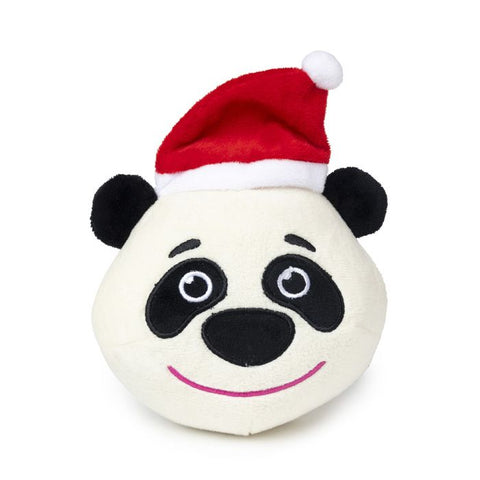 Plush Dog Squeak Toy - Christmas Panda Ball