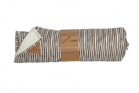 Mog & Bone Fleece Blanket - Mocca Stripe