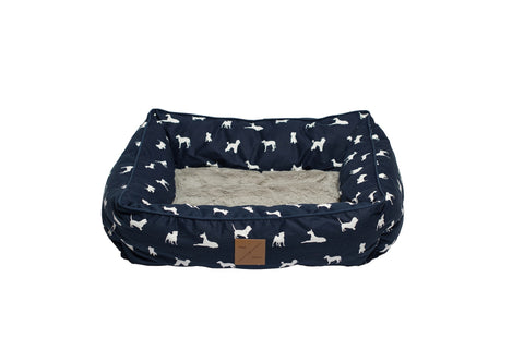 Mog & Bone  Bolster Bed - Blue Dog Print