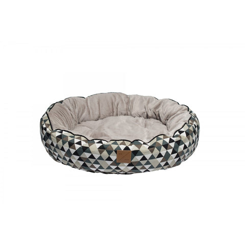 Mog & Bone Circular Reversible Bed - Mocca Diamond