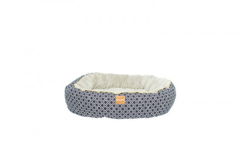 Mog & Bone Circular Reversible Bed - Navy Ikat