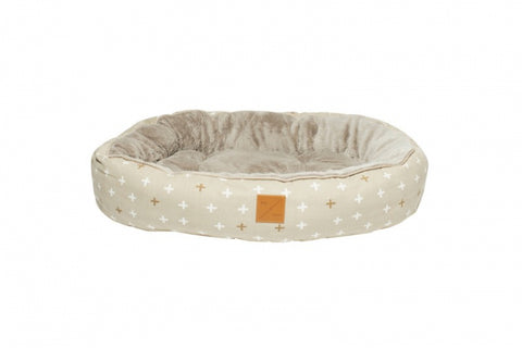 Mog & Bone Circular Reversible Bed - Oatmeal Cross