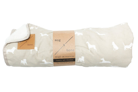 Mog & Bone Fleece Blanket - Oatmeal Dog