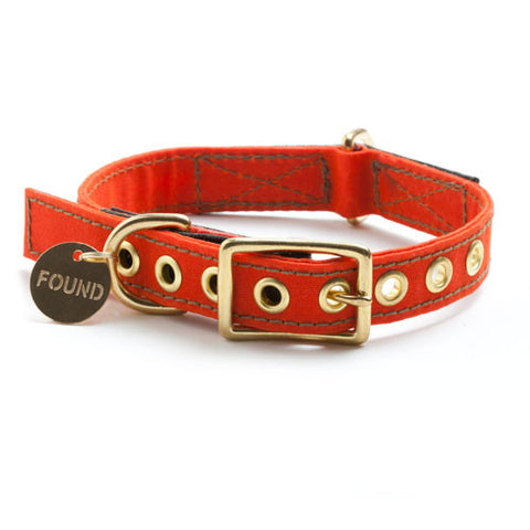 Found My Animal - Dog Collar - Orange Waxed Canvas