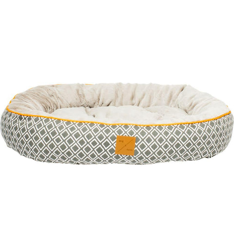 Mog & Bone Circular Reversible Bed -Grey Ikat