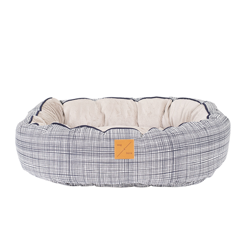 Mog & Bone Circular Reversible Bed - Navy Linen