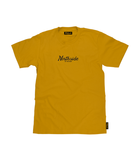 Script Tee Goldenrod - Northside of the map