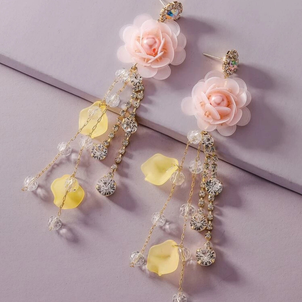 Floral tassel drop earings