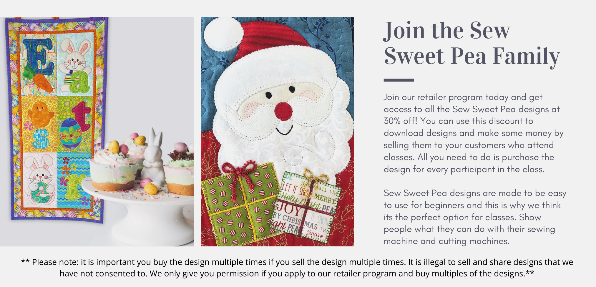retailer program for sewing shops for applique patterns at sew sweet pea
