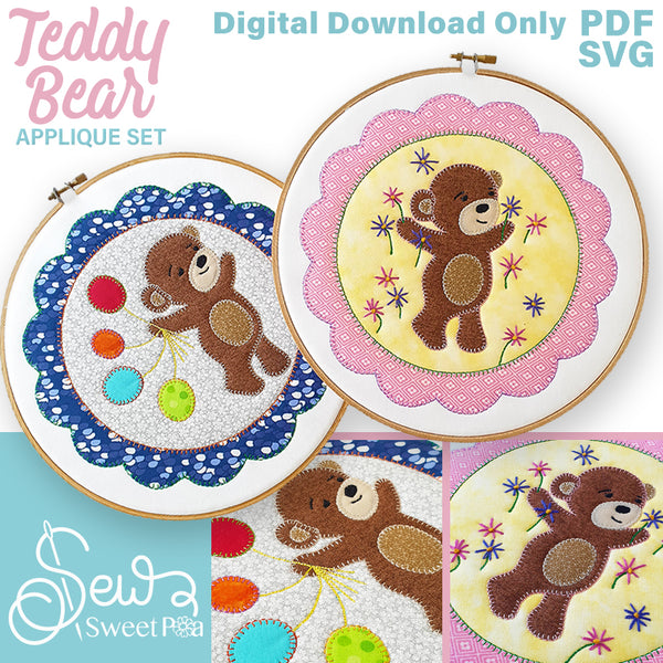 Teddy Bear Applique with Flowers or Balloons.