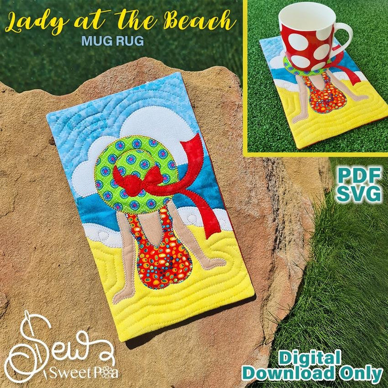 Lady at the Beach Applique Sewing Pattern. - Sew Sweet Pea