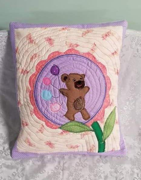 Free Applique Pattern - Free Bear Applique - Teddy Bear Applique with Flowers or Balloons. - Sew Sweet Pea - Cute Bear Cushion Applique Pattern