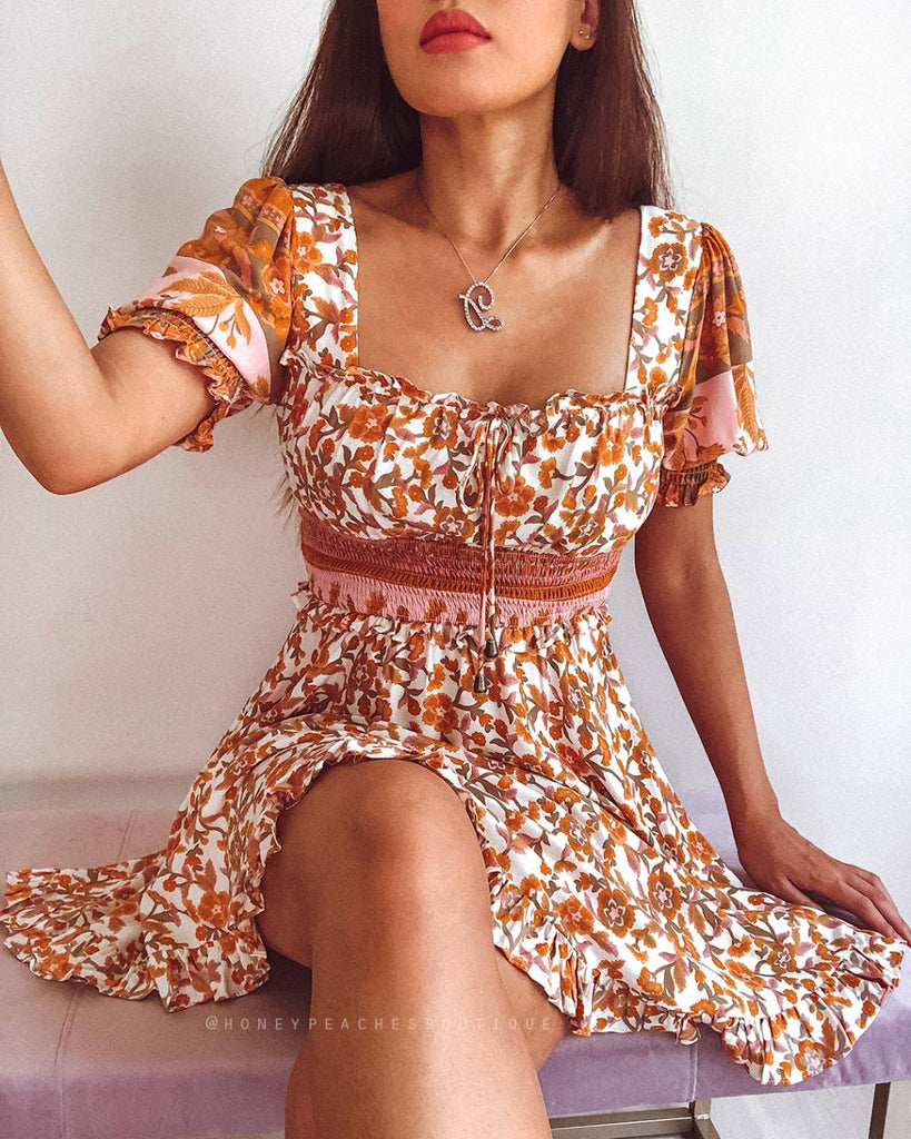 Jada Dress - Orange Floral