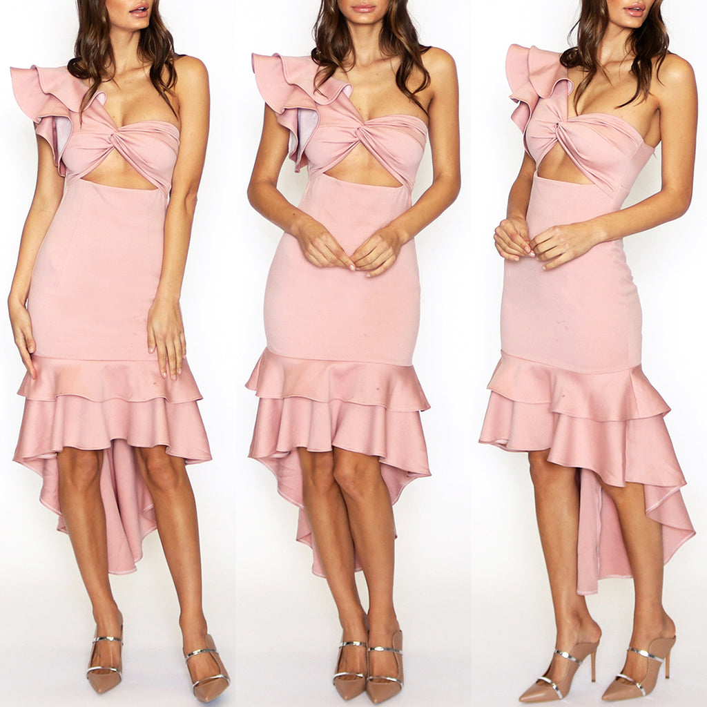 Siren Mermaid Midi Dress - Blush Pink