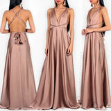 Amore Multi Way Maxi Dress - Mocha Satin