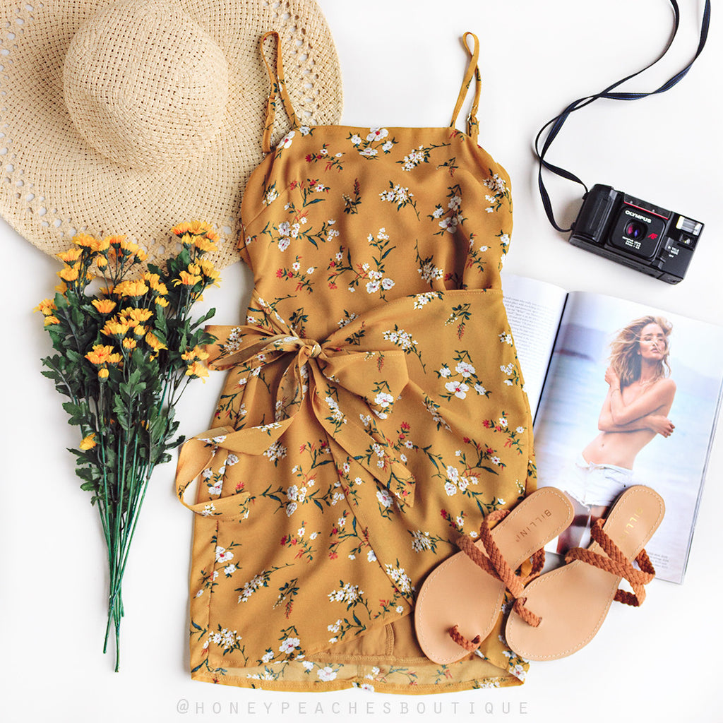 Living For The Moment Dress - Mustard Floral