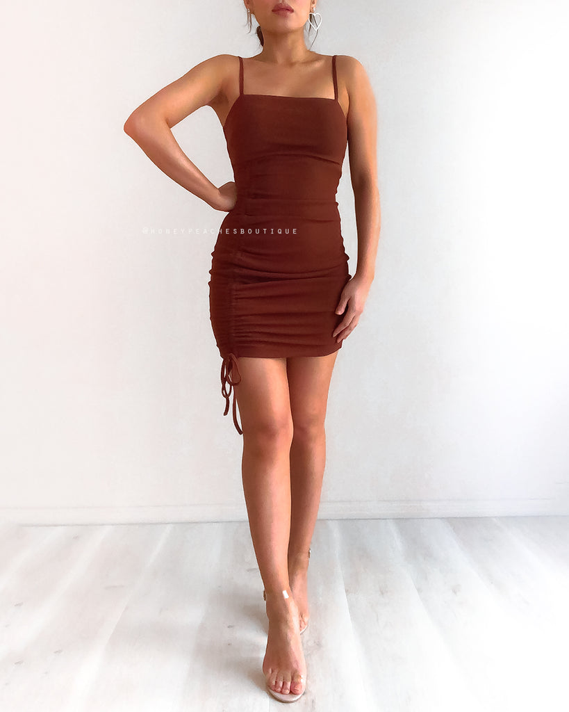 Savannah Mini Dress - Dark Brown