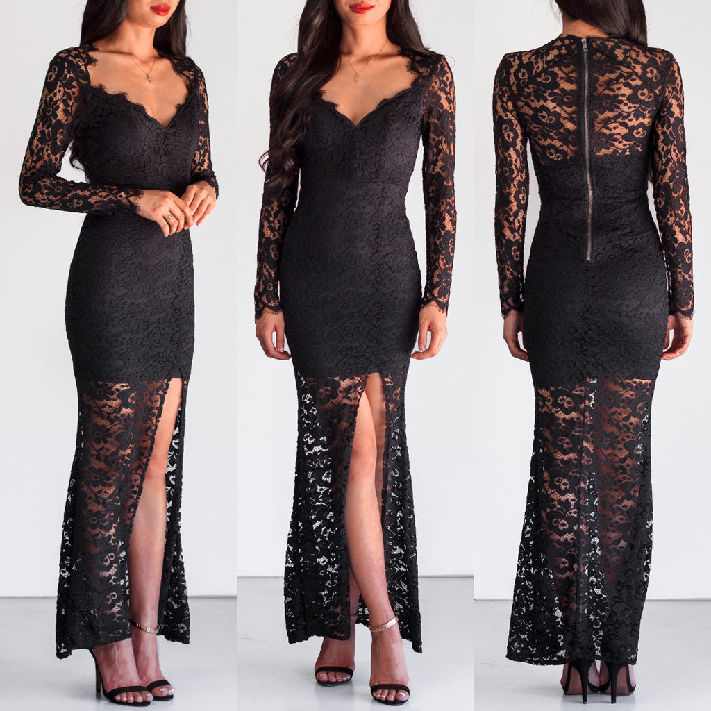 Feel The Love Lace Maxi Dress - Black
