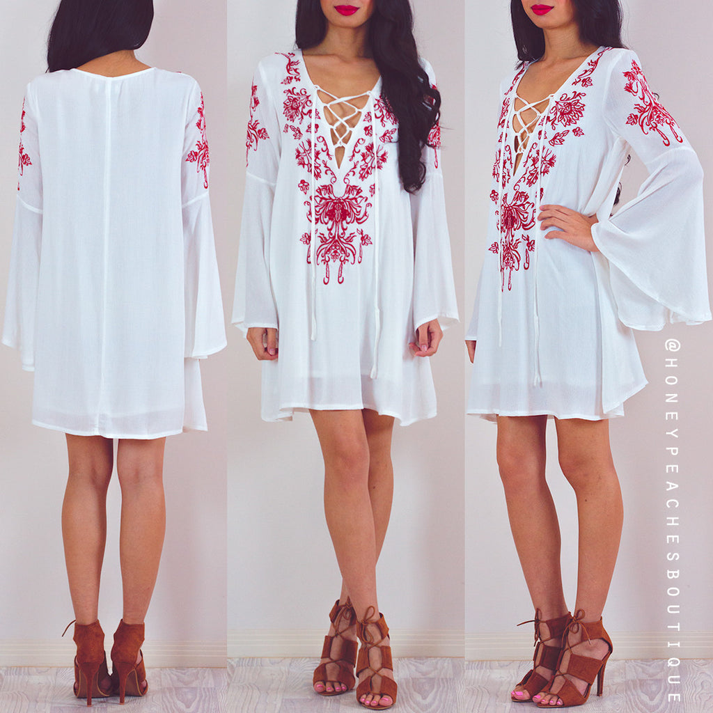 Escape The World Dress - Red Embroidery