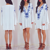 Escape The World Dress - Blue Embroidery