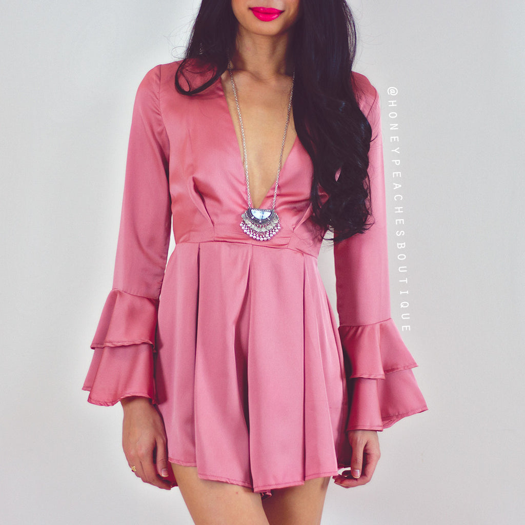 We Fell In Love Playsuit - Deep Dusty Pink