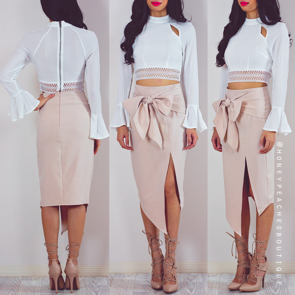 Beside You Midi Skirt - Nude