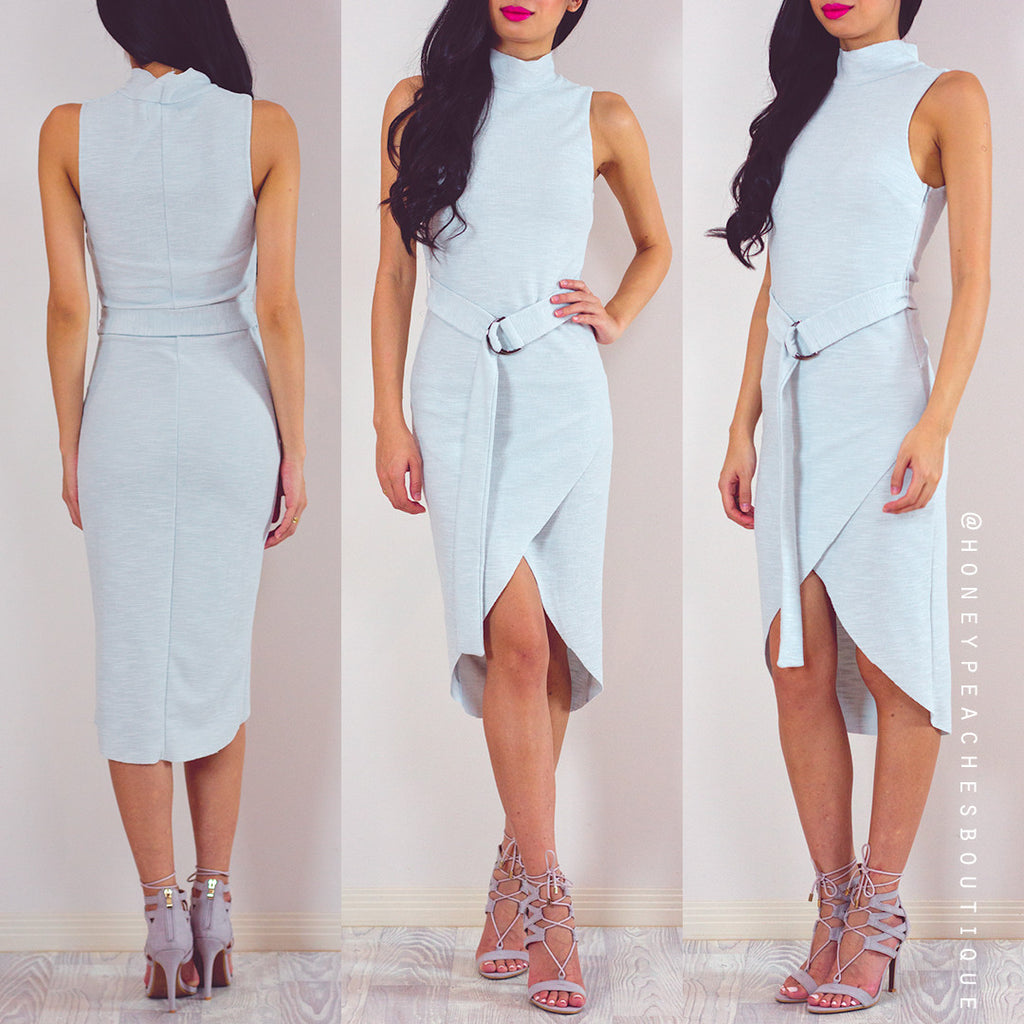 Change Of Seasons Midi Dress - Light Grey