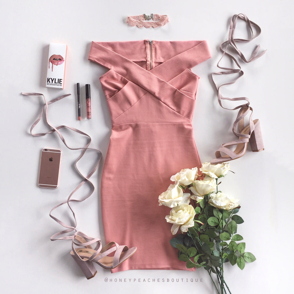 Night Of Romance Off Shoulder Dress - Dusty Pink