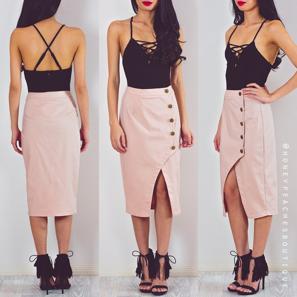 Turn Back Time Midi Skirt - Beige