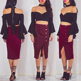 Turn Back Time Midi Skirt - Maroon