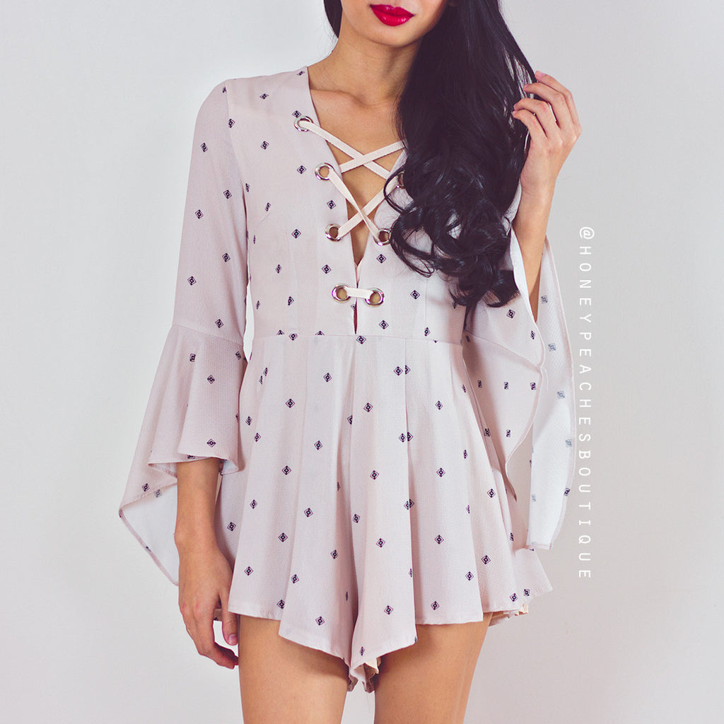 Let It Go Playsuit - Beige Print