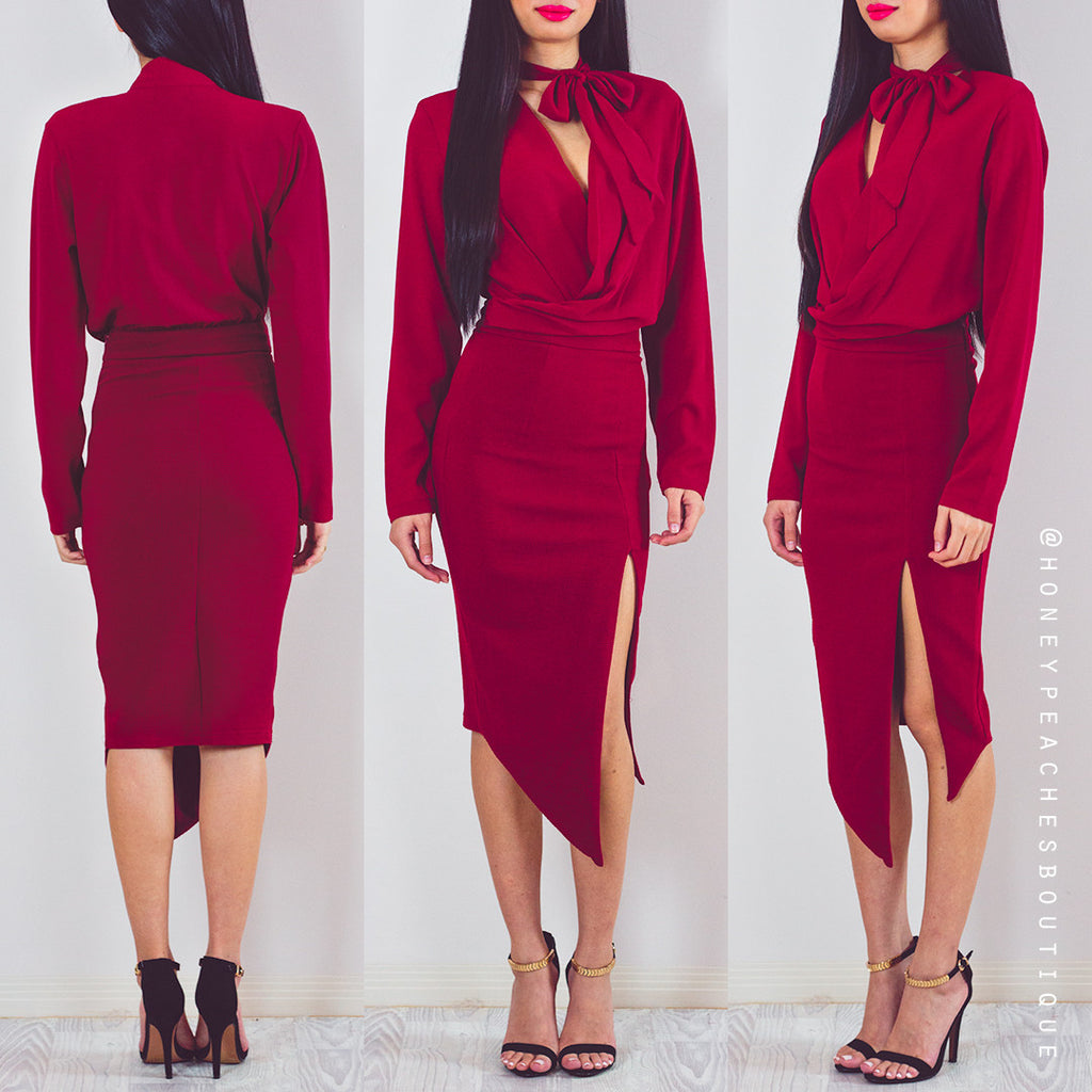 How They Shine Midi Dress - Maroon