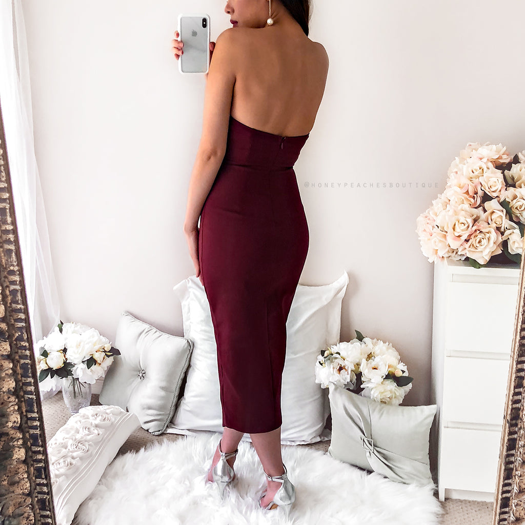 7109d997169c Secret Haven Multi Way Midi Dress - Maroon – Honey Peaches