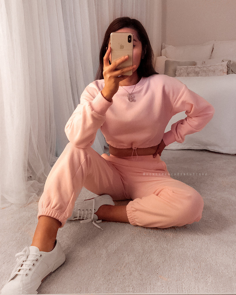 Stacey Fleece Crop Top - Pink
