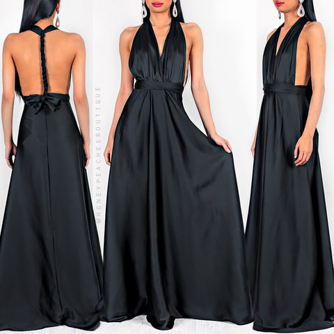 e62303ae8eb Amore Multi Way Maxi Dress - Black Satin