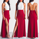 Beyond The Dreams Maxi Dress - White/Maroon