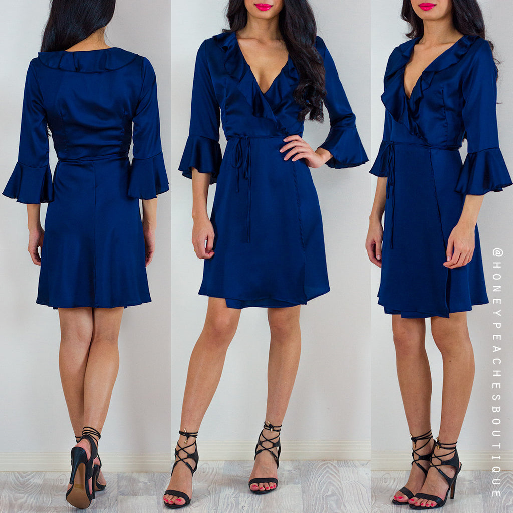 Ready For Love Wrap Dress - Navy