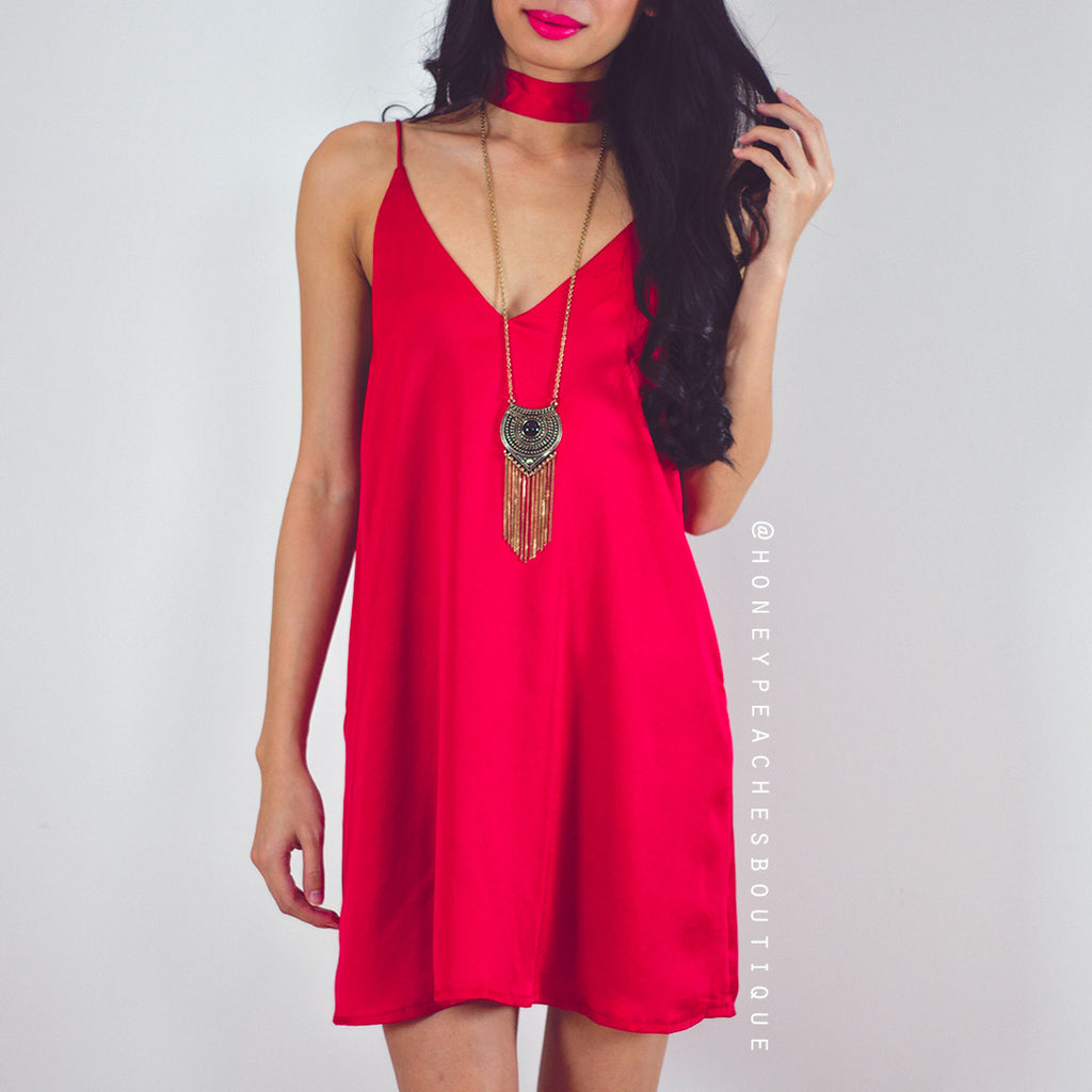 Made To Love Slip Dress - Red