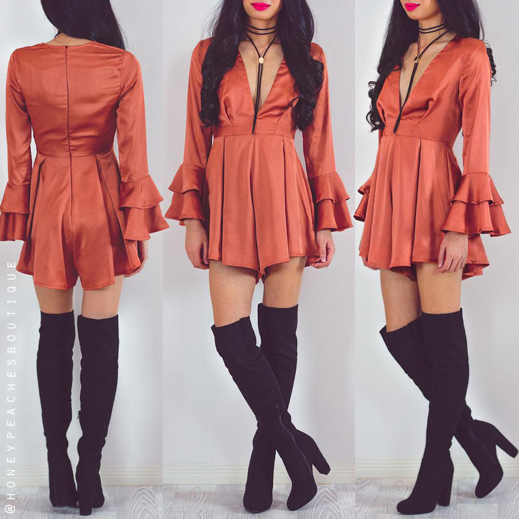 We Fell In Love Playsuit - Rust