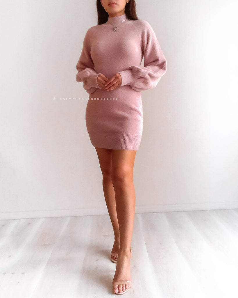 Chloe Knit Dress - Dusty Pink