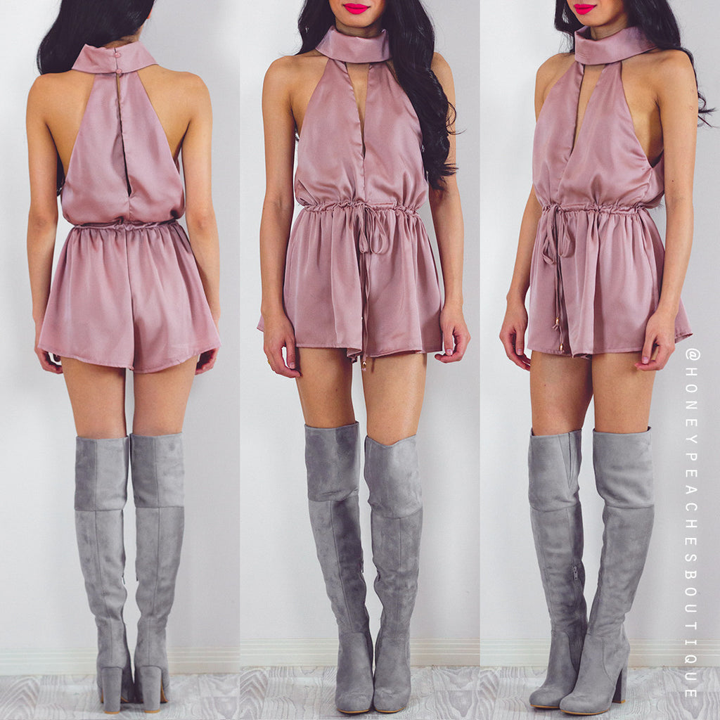 Never Let You Down Playsuit - Dusty Pink