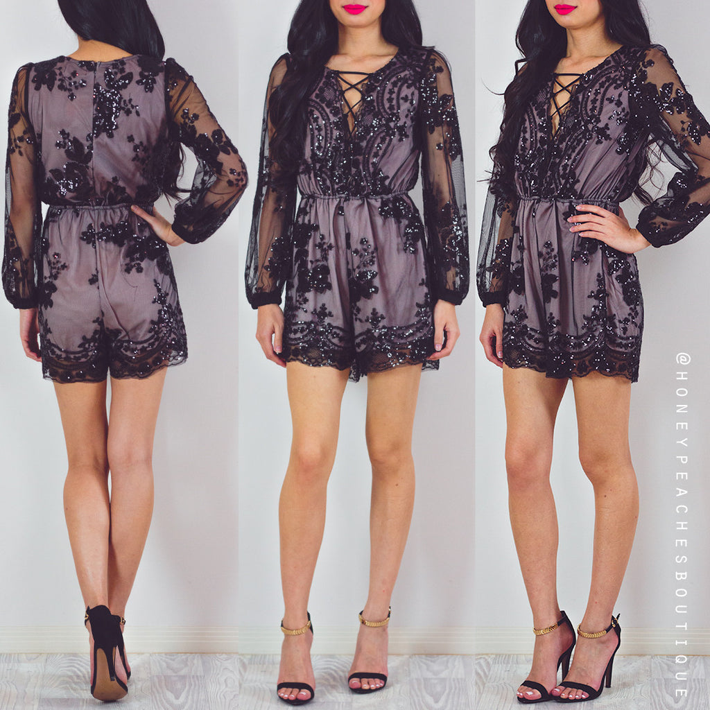 Gracefully Yours Sequin Playsuit - Black